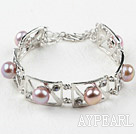 Fashion Style Natural Purple Pearl Metal Bangle Bracelet with Adjustable Chain