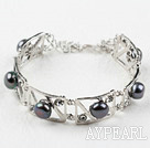 Fashion Style Black Pearl Metal Bangle Bracelet with Adjustable Chain