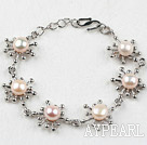 Fashion Style Pink Freshwater Pearl Flower Metal Bracelet with Adjustable Chain