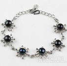 Fashion Style Black Freshwater Pearl Flower Metal Bracelet with Adjustable Chain