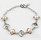 Fashion Style Pink Freshwater Pearl Horse Eye Shape Metal Bracelet with Adjustable Chain