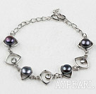 Fashion Style Black Freshwater Pearl Horse Eye Shape Metal Bracelet with Adjustable Chain