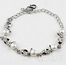 Fashion Style White Freshwater Pearl with Rhinestone Metal Bracelet with Adjustable Chain