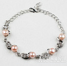 Fashion Style Pink Freshwater Pearl with Rhinestone Metal Bracelet with Adjustable Chain