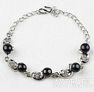 Fashion Style Black Freshwater Pearl with Rhinestone Metal Bracelet with Adjustable Chain