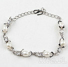 Fashion Style White Rice Freshwater Pearl with Rhinestone Metal Bracelet with Adjustable Chain