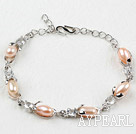 Fashion Style Pink Rice Freshwater Pearl with Rhinestone Metal Bracelet with Adjustable Chain