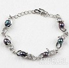 Fashion Style Black Rice Freshwater Pearl with Rhinestone Metal Bracelet with Adjustable Chain