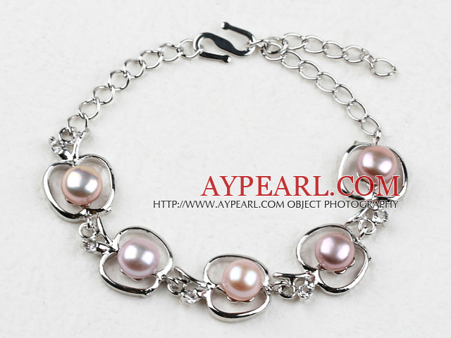 Fashion Style Purple Freshwater Pearl with Apple Shape Metal Bracelet with Adjustable Chain