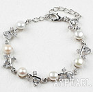 Fashion White Freshwater Pearl Bracelet with Rhinestone and Adjustable Chain