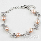 Fashion Pink Freshwater Pearl Bracelet with Rhinestone and Adjustable Chain