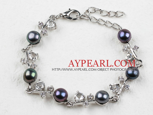 Fashion Black Freshwater Pearl Bracelet with Rhinestone and Adjustable Chain
