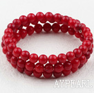 Lovely 6Mm Red Coral Beaded Wrap Bangle Bracelet
