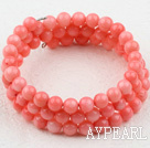 6mm rosa Coral pärlstav Wrap Bangle Armband