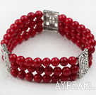 Three Strands 6mm Red Coral Beaded Elastic Bangle Bracelet