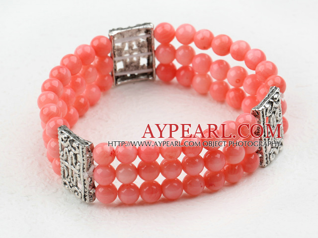 Three Strands 6mm Pink Coral Beaded Elastic Bangle Bracelet