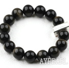 Wholesale Classic Design 12mm Round Obsidian Beaded Elastic Bracelet with Thailand Sterling Silver Bullion