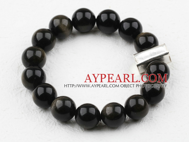 Classic Design 12mm Round Obsidian Beaded Elastic Bracelet with Thailand Sterling Silver Bullion