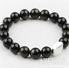 Wholesale Classic Design 10mm Round Obsidian Beaded Elastic Bracelet with Thailand Sterling Silver Bullion