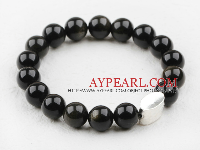 Classic Design 10mm Round Obsidian Beaded Elastic Bracelet with Thailand Sterling Silver Bullion