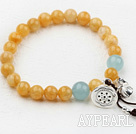 8-10mm Round Topaz Beaded Elastisk Bangle armbånd med Sterling Silver Lotus Tilbehør