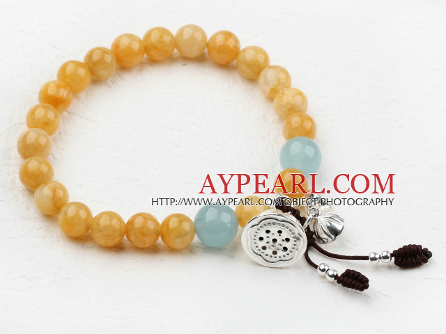8-10mm Round Topaz Beaded Elastic Bangle Bracelet with Sterling Silver Lotus Accessories