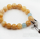 10-12mm Round Topaz Beaded Elastisk Bangle armbånd med Sterling Silver Lotus Tilbehør