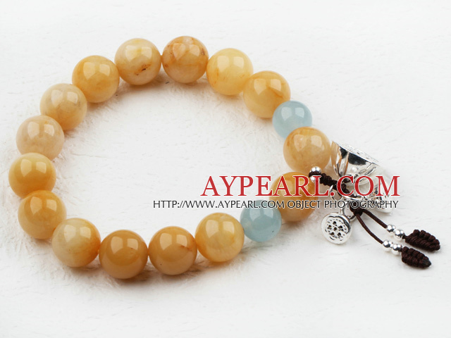 10-12mm Round Topaz Beaded Elastic Bangle Bracelet with Sterling Silver Lotus Accessories