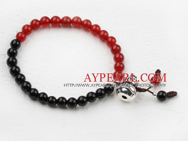 Classic Design Black and Red Agate Beaded Elastic Bangle Bracelet with Sterling Silver Accessories