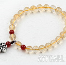 Wholesale Natural Citrine Beaded Elastic Bracelet with Sterling Silver Accessories