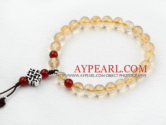Natural Citrine Beaded Elastic Bracelet with Sterling Silver Accessories