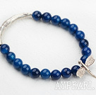 8mm Round Blue Agate Beaded Elastic Bangle Bracelet with Sterling Silver Butterfly Accesories