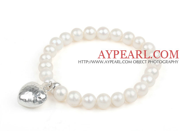 A Grade Round Pearl Beaded Bracelet with Heart Shape Thai Silver Accessory Elastic Bangle Bracelet