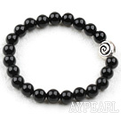 Wholesale Classic Design 8mm Round Black Agate Elastic Bangle Bracelet with S990 Pure Silver Snail Accessory