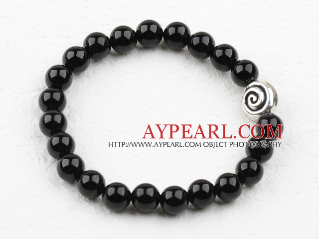 Classic Design 8mm Round Black Agate Elastic Bangle Bracelet with S990 Pure Silver Snail Accessory