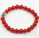 Classic Design 8mm Round Carnelian Elastic Bangle Bracelet with S990 Pure Silver Snail Accessory