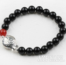 Wholesale Classic Design 8mm Round Black Agate Beaded Elastic Bangle Bracelet with S990 Sterling Silver Fish Accesories