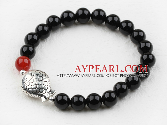Classic Design 8mm Round Black Agate Beaded Elastic Bangle Bracelet with S990 Sterling Silver Fish Accesories