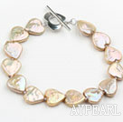 Wholesale Golden Champagne Color Heart Shape Rebirth Pearl Bracelet with Metal Toggle Clasp