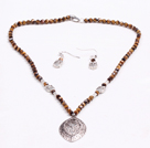 Wholesale Simple Style Faceted Tiger Eye Stone Beads Jewelry Set(Necklace With Matched Earrings)