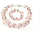 naturelles pourpre 4-5mm volet multi bracelet collier de perles ensemble