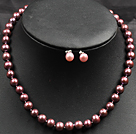 sparkly lampwork glass beads pearl necklace bracelet set with magnetic clasp