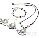 Wholesale pearl and black lip shell necklace bracelet earring set