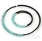 Wholesale 8mm elegant round amazon stone necklace bracelet set