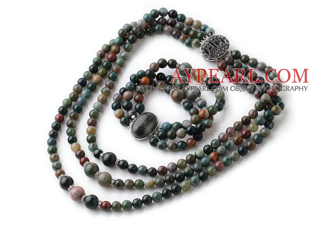 Newly Vintage Style Three Strands Round Indian Agate Beaded Jewelry Set (Necklace with Matched Bracelet)
