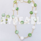 Wholesale white and green necklace earring set