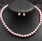 8-9mm Pink Color Pearl Necklace og matchet Studs øredobber Sets