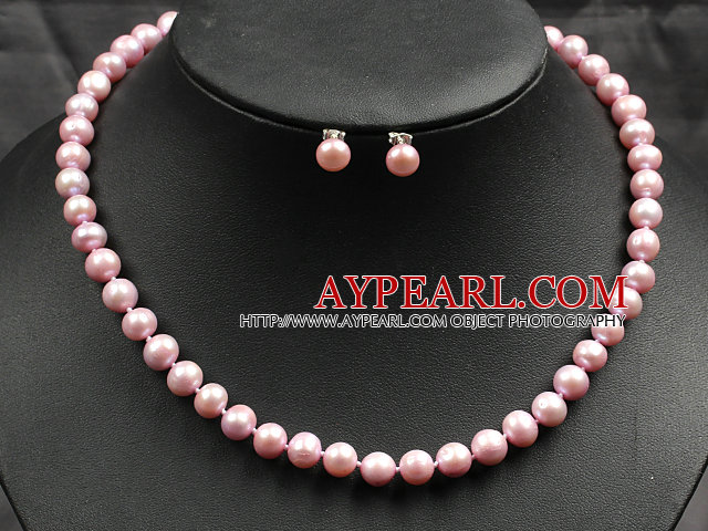 8-9mm Pink Color Pearl Necklace and Matched Studs Earrings Sets
