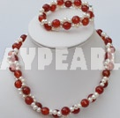 double strand white pearl and red agate necklace bracelet set
