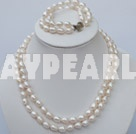 Wholesale double strand white pearl necklace and bracelet set